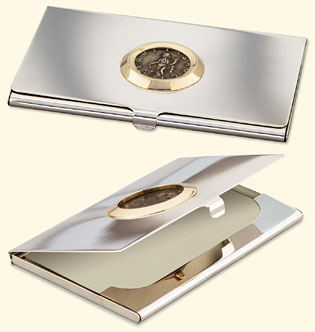 attorney business card case with ancient coin - Silver Business Card Holder